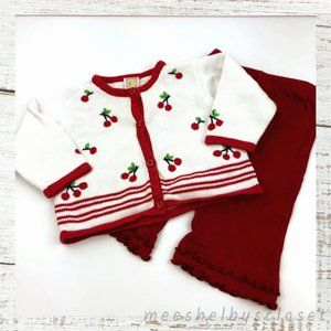 Gymboree Cherry Embroidery Sweater & Red Pants